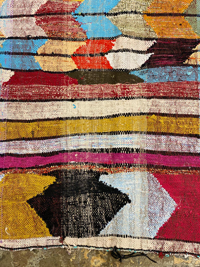 boucherouite colorful rug with colored stripes