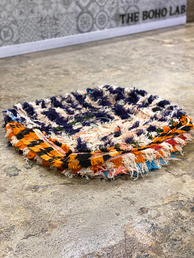 colorful moroccan boucherouite floor pillow
