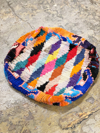 moroccan vintage ottoman, floor cushion, moroccan pouf, wool floor pillow with diamond pattern