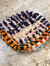 blue and orange boucherouite pouf
