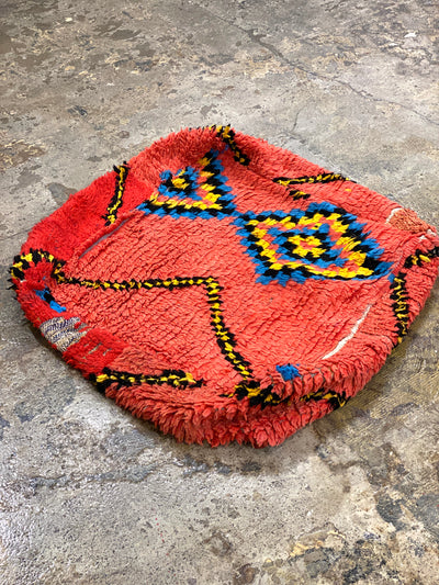 moroccan boucherouite square pouf with modern design