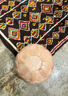 vintage moroccan rug brown diamond colour motif beige pouf