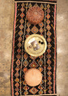 vintage moroccan rug brown diamond colour motif gold platter