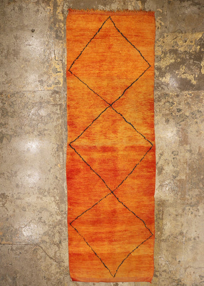 vintage moroccan runner rug  orange black diamond lines