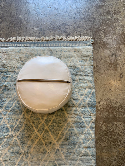 Leather Ottoman Round Moroccan Handmade Pouf Off White
