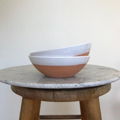 large white terracota bowls