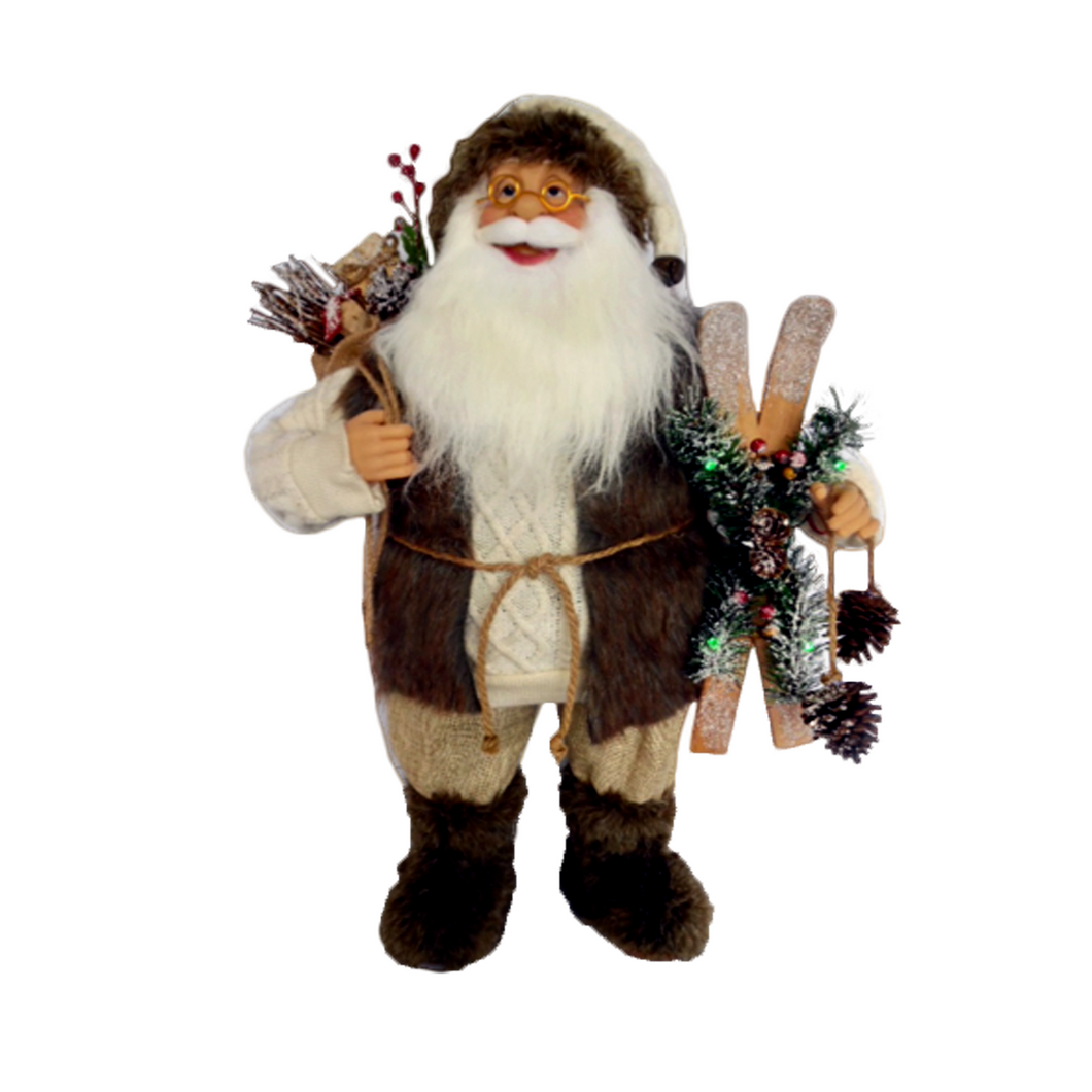 Musical Santa with Skis 60cm - with Lights