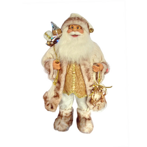Musical Santa White and Gold 60cm - with Lights
