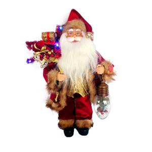 Musical Santa in Red with Lantern 40cm - with Lights