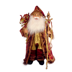 Musical Santa Red and Gold 60cm - with Lights