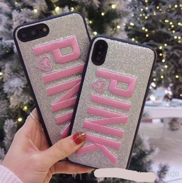 PINK Cover Fashion Design Glitter 3D Embroidery Love Pink Phone Case For iPhone X, iPhone 8, 7, 6 Plus For Samsung S9 S9 plus 9+ 3color