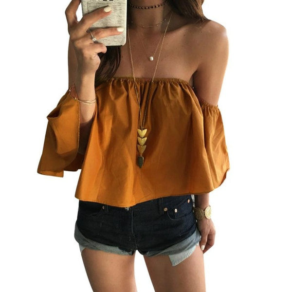 Fashion Ladies Summer Spring 2017 Yellow Blouse Women Off Shoulder Top Casual Shirt Elegant Slim Ruffles Bodycon Blouses