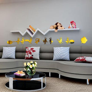 8pcs/set mirror wall stickers home decor living room cartoon Home Decor Mural Decal