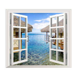 3D Window Sea View Wall Stickers Removable Art Decal Mural