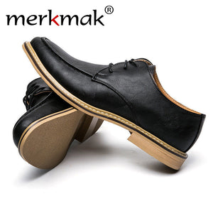 Merkmak Shoes Men 2017 Fashion Vintage British Style Casual Oxfords Business Flats Footwear Breathable Outdoor Zapatos Hombres
