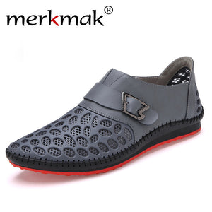Merkmak Hot Sale Summer 2017 Men Casual Shoes Breathable Big Holes Loafers for Men Comfort Mens Footwear Drop Shipping