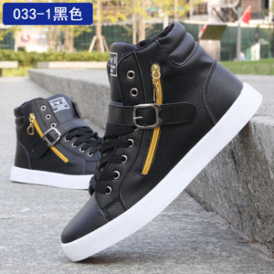 Autumn Spring Fashion High-top Solid Zipper Lovers Martin Boots Shoes Men Male Ankle Boots PU Leather Flat Shoes Drop Shipping