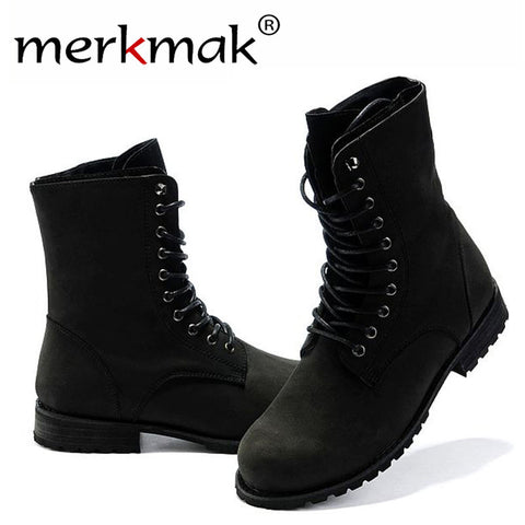 Merkmak Men Ankle Martin Boots High Quality Fashion PU leather High Top Motorcycle Boots Spring Winter Men Boots Shoes Wholesale