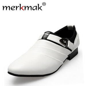 Hot Sale! new 2017 British Men Leather Shoes slip on Men's flats casual flats pointed toe Oxfords Wedding Shoes free shipping