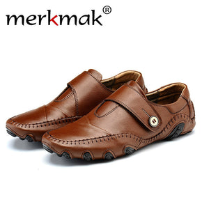 Merkmak Men' s Loafer Shoes 2017 Fashion Genuine Leather Slip On Chaussure Homme Drinving Flats Sapatos Masculinos Men Footwears