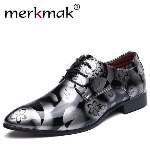 Merkmak Big Size 37-48 New Fashion Men Dress Wedding Shoes Red Gold Shoes Round Toe Flats Business Leather British Lace-upShoes