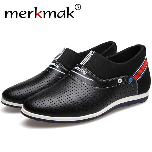 Merkmak Shoes Men Genuine Leather 6 CM Height Increasing Summer Breathable Holes Slip On Male Loafer Handmade Footwear Wholesale