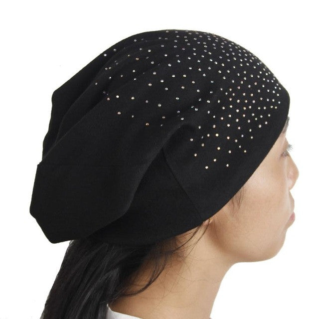 Fashion Rhinestones Women Hat Hot Drilling Cotton Hip Hop Hat Beanie Turban Head Wrap Cap Solid Gorro Feminino