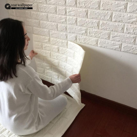 3D wall stickers wall brick pattern self-adhesive wallpaper bedroom living room decorative waterproof anti-collision(Color:White)
