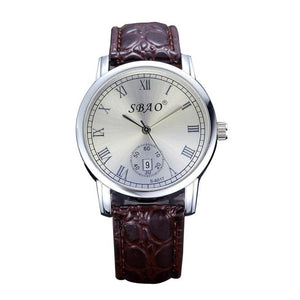 Couple Watch Auto Date Quartz Movement Leather Straps Wristwatches