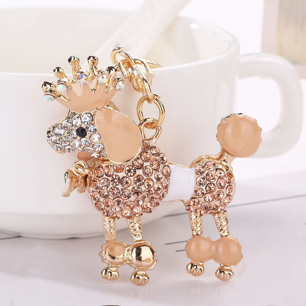 Dog Rhinestone Tassel Keychain Bag Handbag Key Ring Car Key Pendant