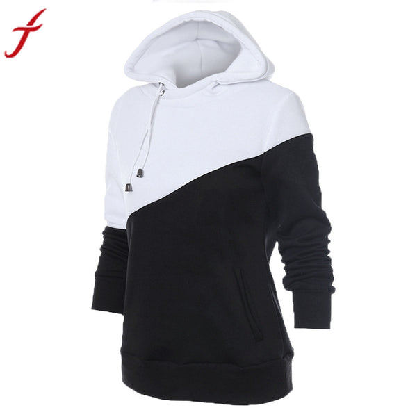 Autumn Winter Women Blouse Long Sleeve Casual Black+White Patchwork Hooded Cotton Top Plus Size Blusa feminino