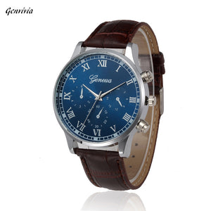 Genvivia 2017 Roman Style Leather Quartz men Watches Brand Men Military Silicone Men Sports Watch Waterproof Relogio Masculino