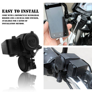 Waterproof 12V/24V Motorcycle Cigarette Lighter Socket  + Motorcycle Scooter Handle Bar Mounted Charger Dual USB Charger