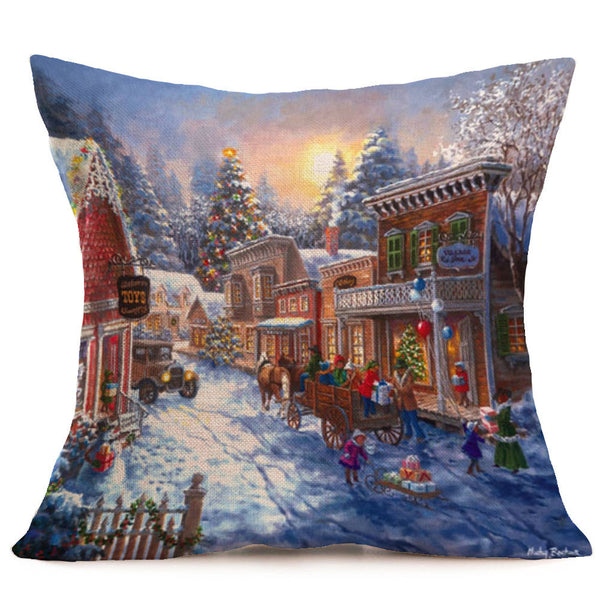 Merry Christmas Linen Pillow Cases Sofa Cushion Cover Home Decoration