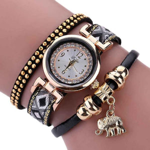 Pendant Weave Wrap Around Bracelet Watch  Crystal Synthetic Fashion Chain Watch