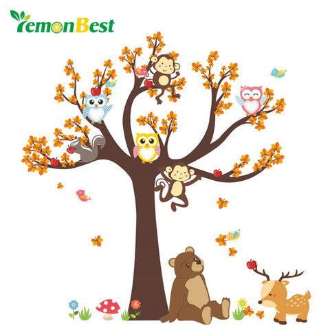 LemonBest Animal Tree DIY Wall Stickers For Kids Rooms Boys Girls Children Bedroom Home House Decoration 3D Design Wallpaper