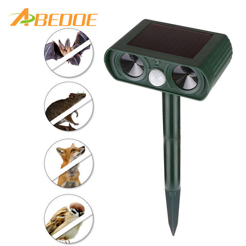 ABEDOE Outdoor Solar Ultrasonic Animals Repeller Mosquito Killer Garden Cat Dog Fox Deer Mice Fox Repellent Garden Pest Control