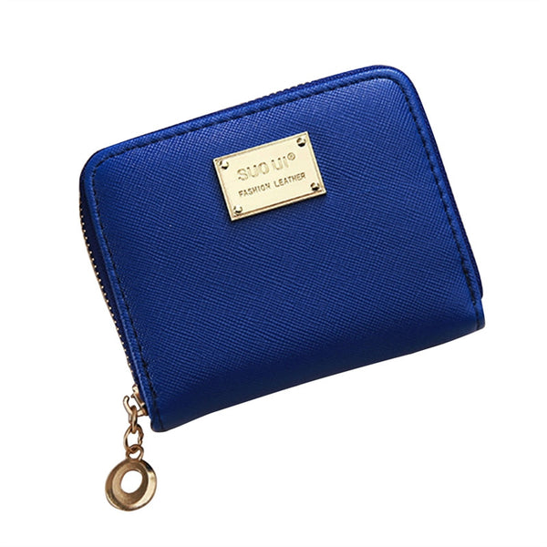 Women Girl Zipper Wallet PU Leather Mini Purse for Cards Keys Coins Small Change Holding