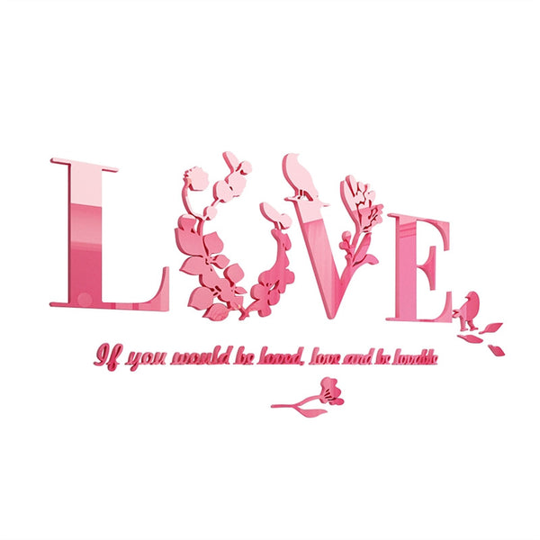Removable Love Leaf Proverb 3D Wall Stickers Modern Acrylic Stickers Mural Home Decor