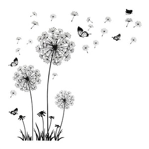 Fashion DIY Decal Dandelion Wall Stickers Adhesive Floral Wallpaper for Background in Bedroom Living Room Home Decor