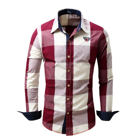 Men's Checked Shirt Long Sleeve Non-Iron Casual Blouse Cotton Slim Fit Plaid Top