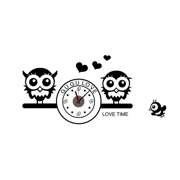 Cute Owls with Clock DIY Wall Wallpaper Stickers Art Decor Mural Room Decal