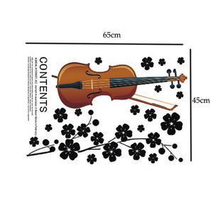 Beautiful Violin Flowers Removable Wall Stickers Art Decals Mural DIY Wallpaper for Living Room 45 * 65cm