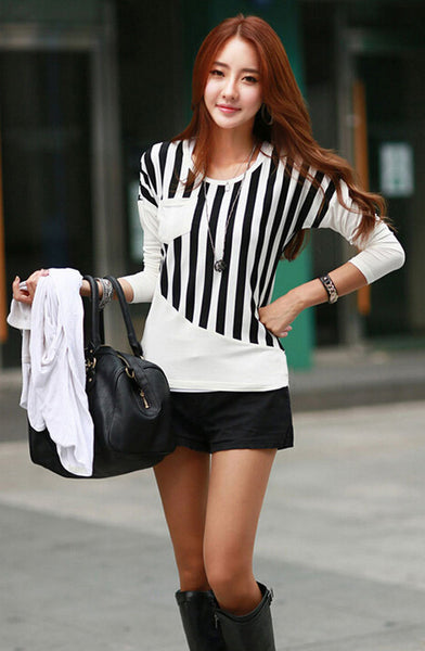 New Fashion Women T-Shirt Striped Patchwork Chest Pocket Long Sleeve Casual Blouse Tops Tee White/Black