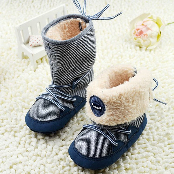 Newborn Toddler Baby Boy Girl Warm Fur Snow Boots Stripes Soft Sole Booties