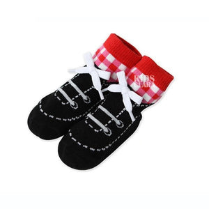 0-4Y Baby Kids Infant Cotton Socks Shoelaces Anti Slip Trainer Booties Socks