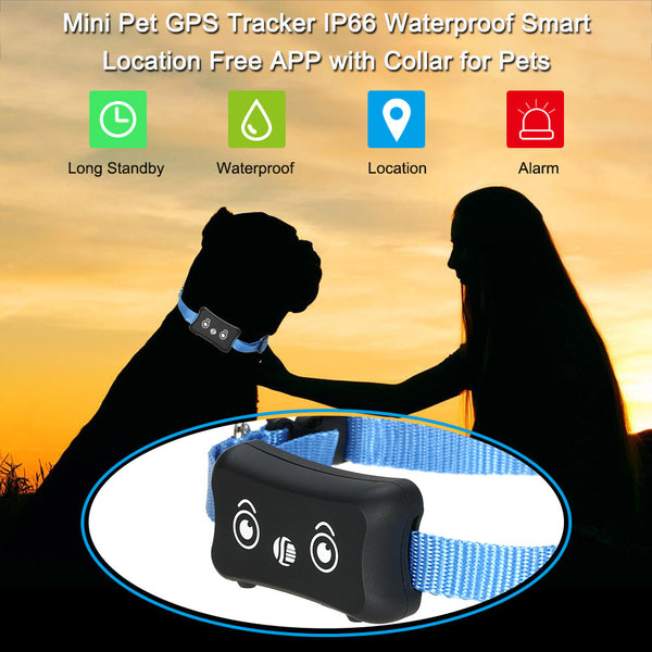 Mini Pet GPS Tracker IP66 Waterproof Smart Location Free APP with Collar for Pets