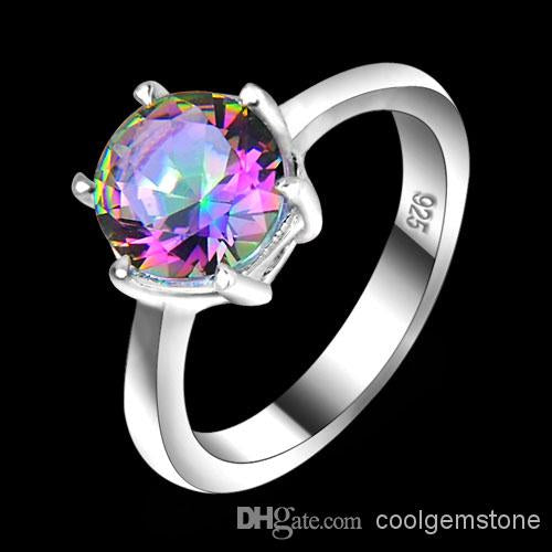 Vintage 925 Sterling Silver Queen Fancy Natural Mystic Topaz Round Gemstone Jewelry Austrian Crystal Wedding Ring for lovers CR047