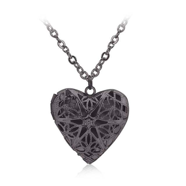 70baa50346 Hollow Love Heart DIY Secret Message Locket Necklace Pendant 6 Colors  Openable Vintage Gift For Lover