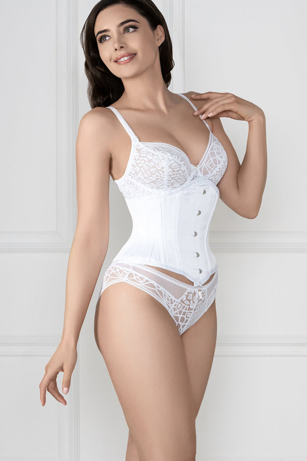 Waspie-Unterbrust-Korsett, Waist Training, Satin, weiß